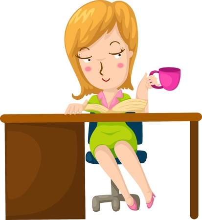 Illustration of a girl having coffee and reading a book  Stock Vector - 19190349