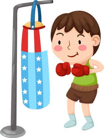 boy muscles: Illustration of A Boxer isolated on white background  Illustration