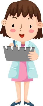 profesional: Illustration of nurse isolated on white background