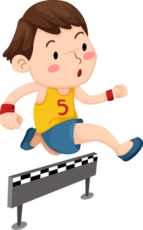 grandstand: Illustration of a boy jumping hurdle isolated on white background