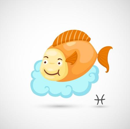 peces de colores: Signos del Zodiaco - Pisces Ilustración Vectores