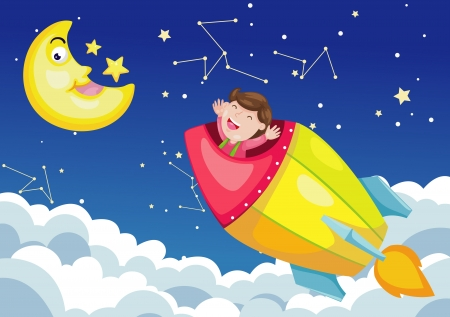 rocket in sky moon night Vector