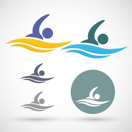 piscina olimpica: Con iconos vectoriales Vectores