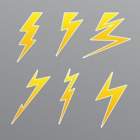thunder storm: thunder set icon vector