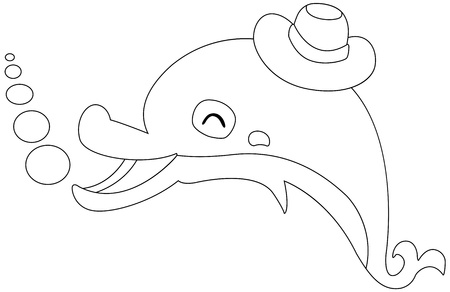 Illustration of an isolated dolphin on a white background vector Vector