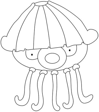 oceanography: illustrazione di una medusa su uno sfondo bianco