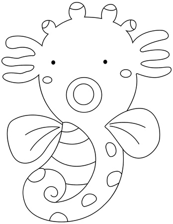 clip art draw: illustration of a sea horse on a white background vector