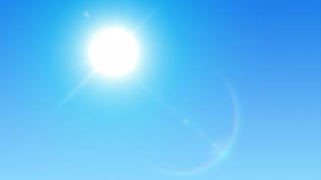 schittering: Blauwe lucht met fel zon