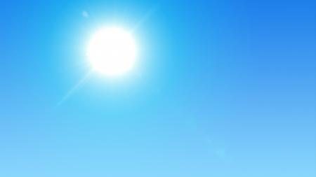 glaring: Blue sky with glaring sun Stock Photo