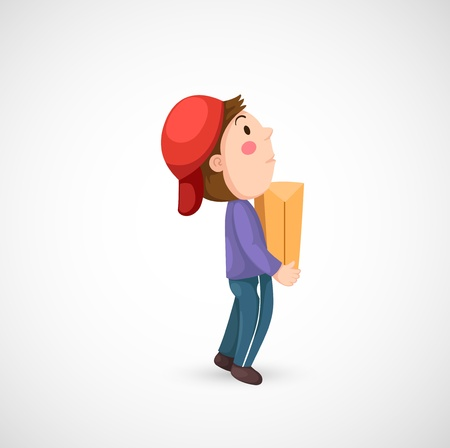 illustration of isolated messenger boy with package Vector