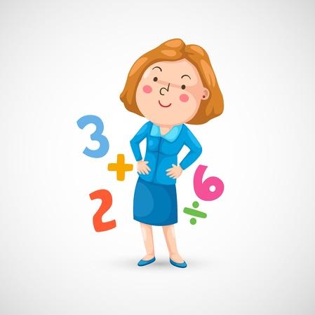 cartoon math: illustration of isolated teacher in the class  Illustration