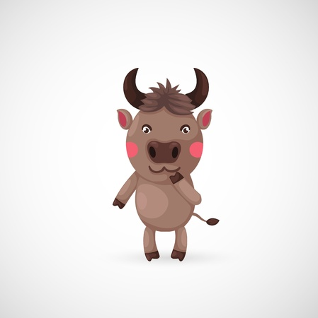 illustration of isolated buffaloon vector Vector
