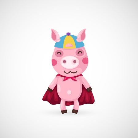 illustration of isolated super pig  Vector