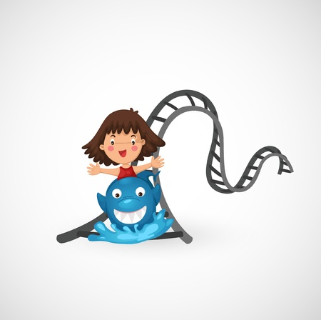 illustration of isolated kids riding in the roller coaster  Vector