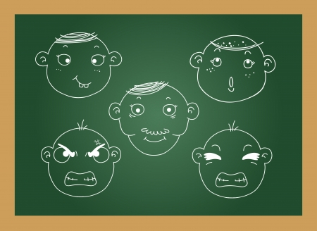 scowl: illustration of isolated different facial expressions of a boy blackboard  Illustration