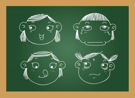 scowl: illustration of isolated different facial expressions of a girl on blackboard