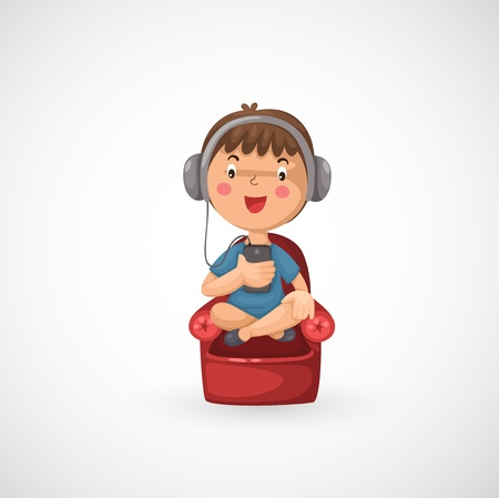 earphones: illustration of isolated Happy boy listening to music