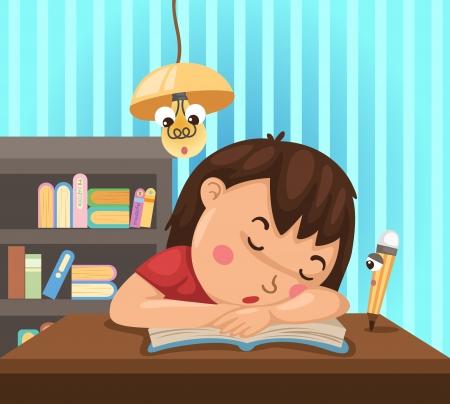 cansancio: Dibujo de un ni�o aislado aprende en la noche