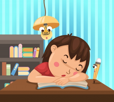 tiredness: illustration of isolated child learns at night