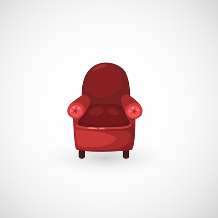 easy chair: illustration of isolated red armchair