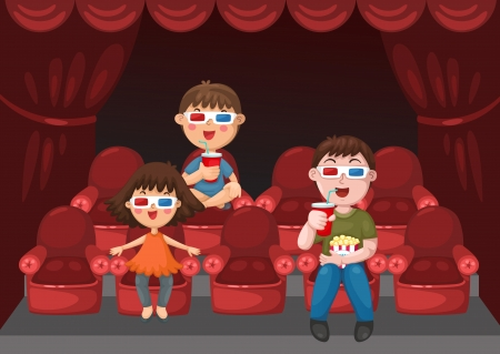 classical theater: illustration of isolated kids watching a movie with 3d glasses  Illustration