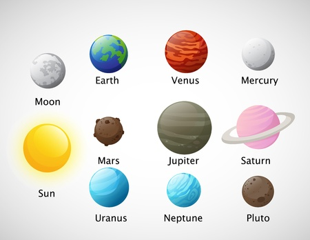 illustration of isolated Solar system icons