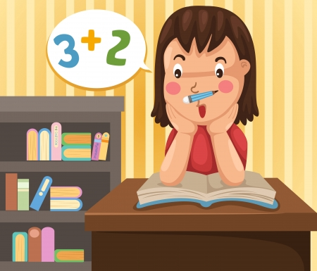 illustration of isolated girl doing homework  Stock Vector - 20194505