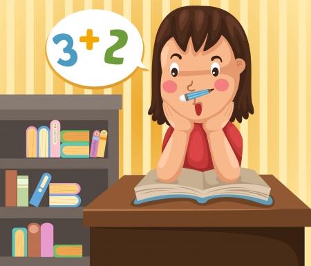 illustrazione di isolato ragazza a fare i compiti