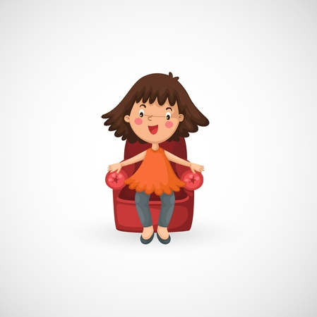 illustration of isolated girl sitting chair Stock Vector - 20194529