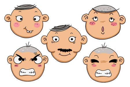 poke': illustration of isolated different facial expressions of a boy
