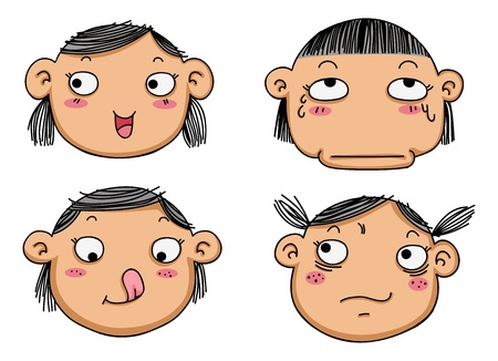 disgust: illustration of isolated different facial expressions of a girl