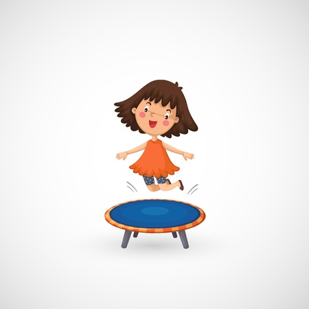 high school series: illustration of isolated a girl jumping on a trampoline
