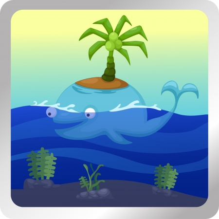 sea weeds: illustration of isolated Whale