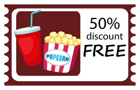 illustration of isolated ticket drink and popcorn  Vector