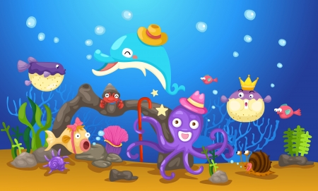 marine environment: illustration of isolated an underwater world