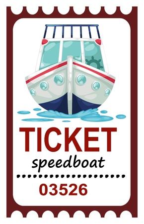 speed boat: ilustraci�n del billete de barco aislado velocidad