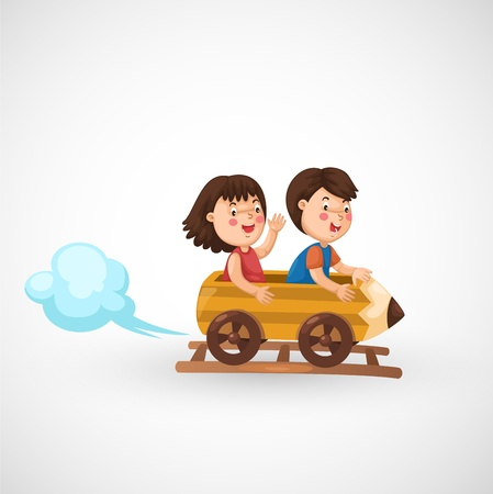 women children: illustration of isolated kids riding in the roller coaster vector