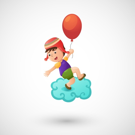 illustration of isolated child boy with balloon vector  Stock Vector - 20313286