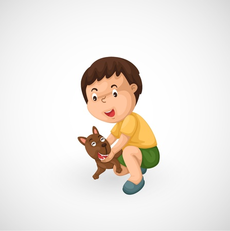 illustration of isolated boy and puppy vector  Stock Vector - 20313274