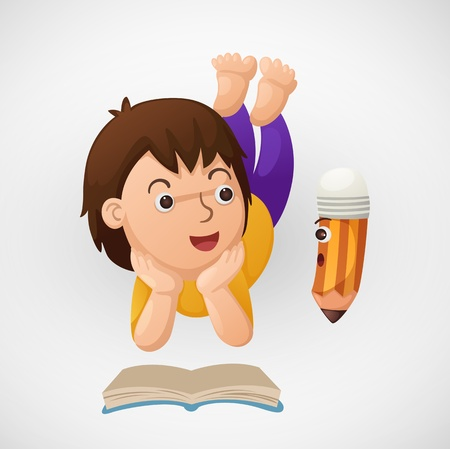 illustration of isolated child learns vector  Vector