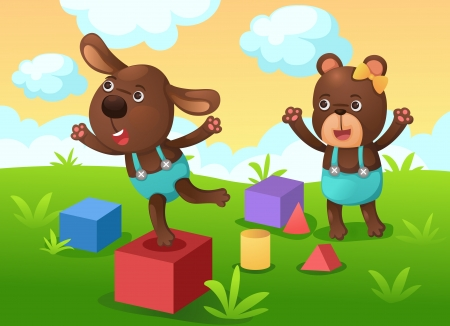 friend nobody: illustration of isolated dog and bear play with toy vector