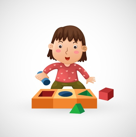 friend nobody: illustration of isolated children play with toy vector