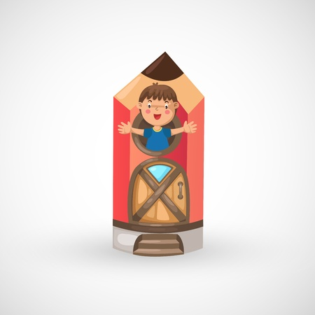 illustration of isolated child boy in pencil home vector Ilustração