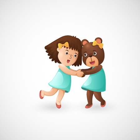 illustration of isolated baby girl hugging teddy bear vector  Stock Vector - 20313418