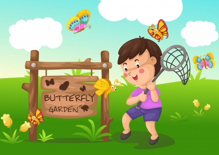 illustration of isolated butterfly garden vector Stock Vector - 20866120