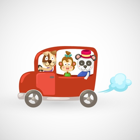touring car: illustration of isolated animals in red car vector Illustration