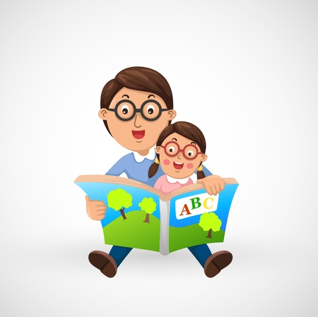 two parent family: illustration of isolated father and son reading book together vector