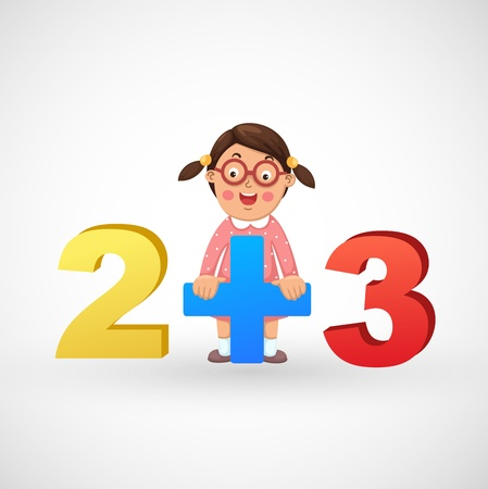 illustration of isolated a girl with the numbers vector Vector