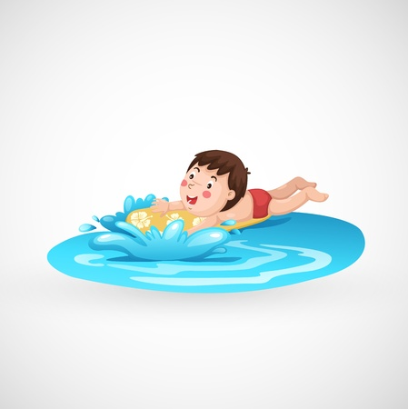 natural resources: illustration of isolated boy and a swimming pool vector