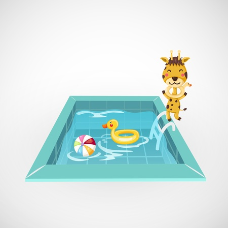 illustration of isolated giraffe and a swimming pool vector Vector